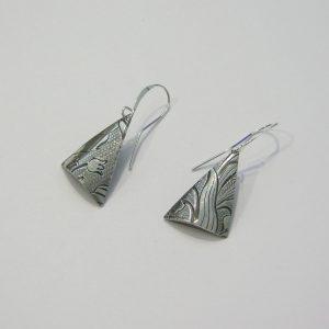 Vintage Silver Triangle Earrings 6
