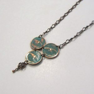 1967   3 Green Penny Necklace
