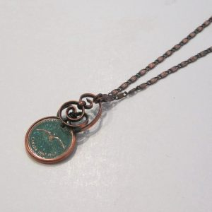 1967 Green Penny Twist Necklace