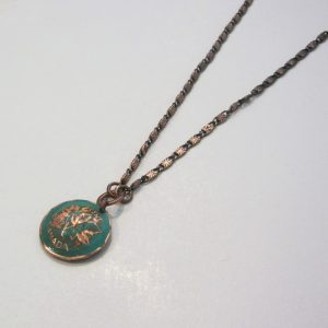1987 Green Penny Dome Necklace