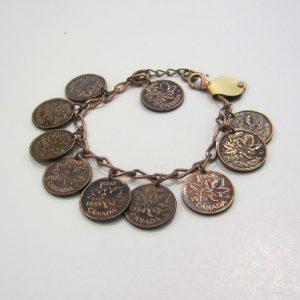 Copper Penny Charm Bracelet