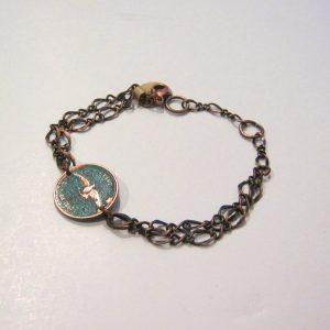 1967 Green Penny Chain Bracelet