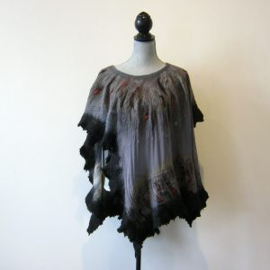Black Silk Wool Poncho