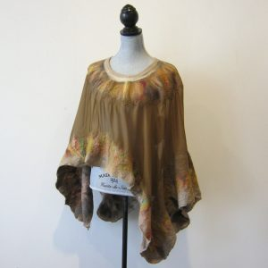 Brown Silk Wool Poncho