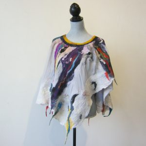 Multi Silk Wool Poncho
