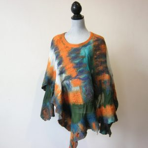 Orange Silk Wool Poncho