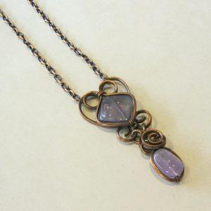Flourite, Amethyst & Copper Necklace