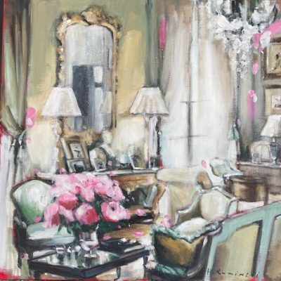 French Apt With Peonies 24x24