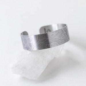 Etched Fostoria Small Aluminum Cuff