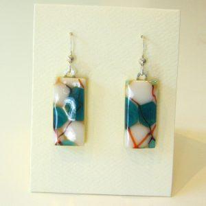 Aqua Pebble Glass Earrings