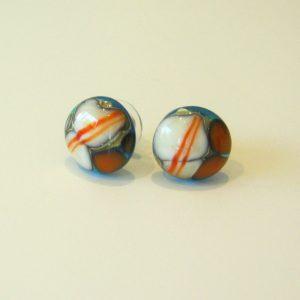Aqua Pebble Glass Stud Earrings